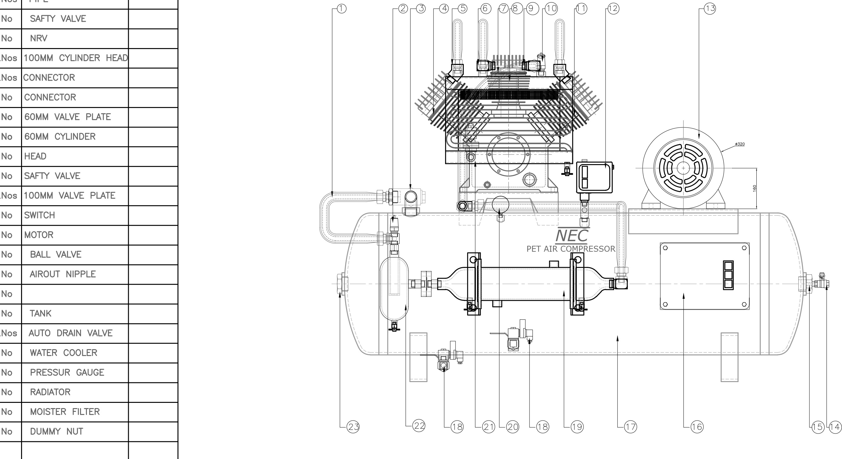 reciprocating air compressor parts diagram