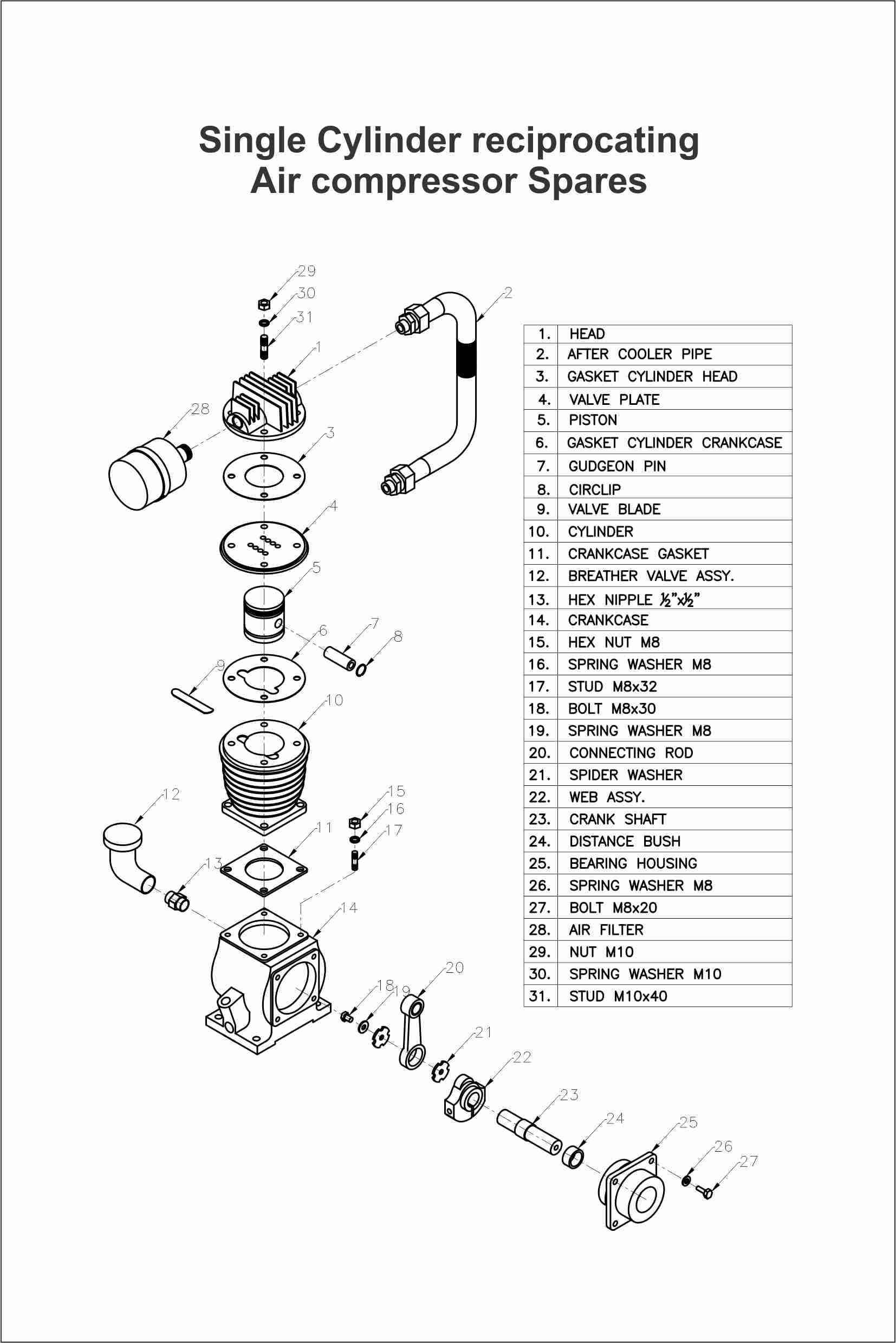 Single Stage Reciprocating Air Compressors Parts